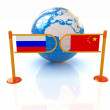 Three-dimensional image of the turnstile and flags of China and Russia on a white background — Stock Photo