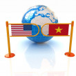 Stock Photo: Three-dimensional image of turnstile and flags of USand Vietnam on white background