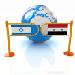 Stock Photo: Three-dimensional image of turnstile and flags of Israel and Syrion white background