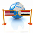 Stock Photo: Three-dimensional image of turnstile and flags of USand Syrion white background