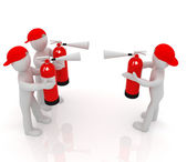 3d mans with red fire extinguisher. The concept of confrontation — Stock Photo