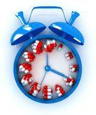 Alarm clock and tablet — ストック写真