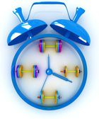Alarm clock icon with dumbbells. Sport concept — Stock Photo