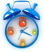Alarm clock icon with kettlebells. Sport concept — Stock Photo