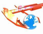Suwmiarka z noniuszem środków ziemi. globalna koncepcja 3d — Zdjęcie stockowe
