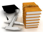 Vernier caliper, books and graduation hat. The best professional edication concept — Stock Photo