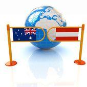трехмерное изображение турникетов и флаги австралии и австрии на белом фоне — Стоковое фото