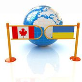 Three-dimensional image of the turnstile and flags of Canada and Ukraine on a white background — Stock Photo