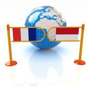 Immagine tridimensionale del tornello e bandiere di francia e monaco su sfondo bianco — Foto Stock