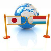 Three-dimensional image of the turnstile and flags of Japan and Luxembourg on a white background — Zdjęcie stockowe