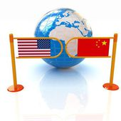 Three-dimensional image of the turnstile and flags of USA and China on a white background — Fotografia Stock