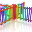 Colorfull glossy fence — Stock Photo