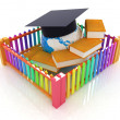 Global education concept in closed colorfull fence. Concept education protection — Stock Photo #30283715