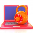 Laptop with lock.3d illustration on white isolated background.  — Stock Photo