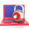 Laptop with lock.3d illustration on white isolated background. — Stock Photo #30283869