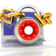 Laptop with chains and lock.3d illustration on white isolated background. — Stock Photo #30283907