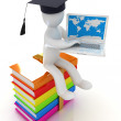 3d man in graduation hat with laptop sits on a colorful glossy boks — Lizenzfreies Foto