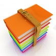 Stack of colorful glossy books — Stock Photo