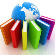 Stock Photo: Colorful books and earth