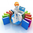 3d man in hard hat sitting on earth and working at his laptop and books around his — Stock Photo #30284467