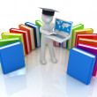 3d man in graduation hat working at his laptop and books — Lizenzfreies Foto