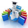 3d man in graduation hat sitting on earth and working at his laptop and books around his — Stock Photo #30284485