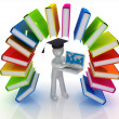 Stockfoto: Colorful books like rainbow and 3d min graduation hat with laptop
