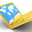 Gold laptop with world map on screen — Stock Photo