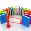 Colorful books in a semicircle and tourniquet to control. The concept of the exam — Stock Photo #30284703