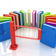 Colorful books in a semicircle and tourniquet to control. The concept of the exam  — Stock Photo