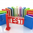 Colorful books in a semicircle and tourniquet to control. The concept of the exam — Stock Photo #30284733