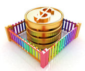 Dollar coins in closed colorfull fence concept illustration — Stock Photo
