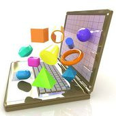 Powerful laptop specially for 3d graphics and software — Stock Photo