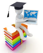 3d man in graduation hat with laptop sits on a colorful glossy boks — Stok fotoğraf