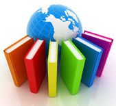 Colorful books and earth — Stock Photo