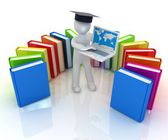 3d man in graduation hat working at his laptop and books — Stock fotografie