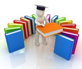3d white man in a graduation hat with useful books - best gift a student — Stock Photo