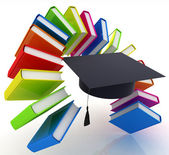 Colorful books like the rainbow and graduation hat — Stock Photo