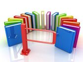 Colorful books in a semicircle and tourniquet to control. The concept of the exam — Stockfoto