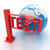 Global test with erth and turnstile — Stock Photo