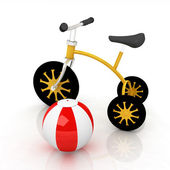 Children's bike with colorful aquatic ball on white background — Stock fotografie