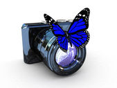 3d illustration of photographic camera and butterfly on white ba — Photo