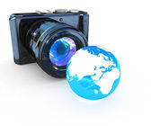 3d illustration of photographic camera and Earth on white backgr — Stock Photo
