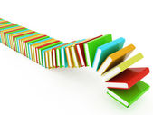 Colorful real books on white background — Stock Photo