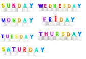 Set of 3d colorful cubes with white letters - days of the week — Stock Photo