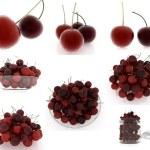 Set of fresh cherries on a white — Stock Photo #30302827