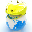 Bicycle helmet on earth. The concept of healthy life and sport.  — Stock Photo