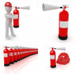 Fire extinguisher set — Stock Photo