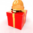 Hard hat on a red gift — Stock fotografie