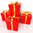 Bright christmas gifts on a white background — Stock Photo